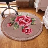 玫瑰花朵圓形地毯電腦椅墊客廳地毯吊籃臥室地毯梳妝臺椅墊打坐墊