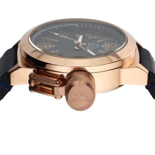 Kappa 獨特重金屬經典時尚腕錶-藍/49mm