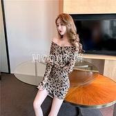 V領豹紋收腰緊身A字短裙女2021年新款復古桔梗裙子夏季法式洋裝 快速出貨
