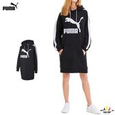 Puma Classics T7 女 黑 長袖 帽T 連帽上衣 連身裙 長板T桖 運動 休閒 法國毛圈 長袖 59705101