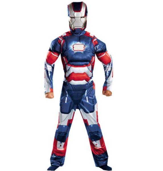 衣童趣♥萬聖節 藍色鋼鐵人兒童角色扮演 派對 表演 舞檯 變裝 表演服 肌肉鋼鐵人 贈面罩