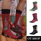 OT SHOP [現貨] 襪子 中筒襪 運動襪 男款 棉質 日系街頭潮流 檸檬紅茶/可樂娜啤酒/可口可樂 M1103