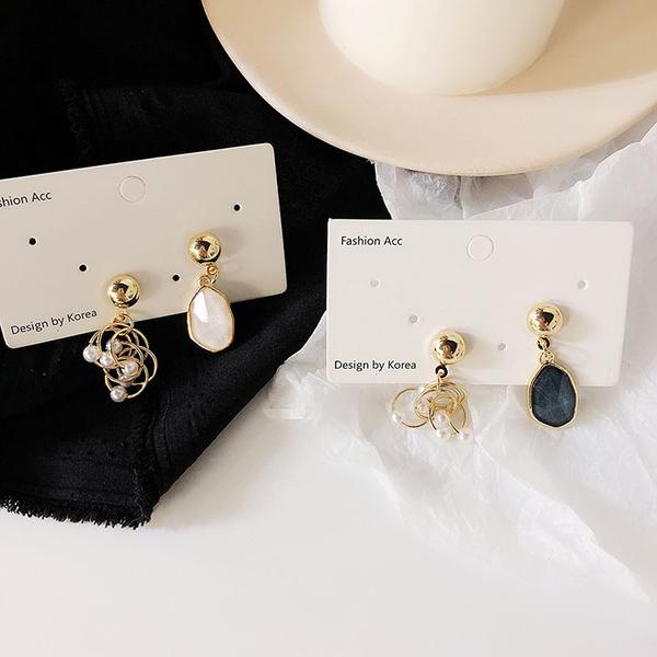 耳環 簡約 大理石紋 不對稱 珍珠 纏繞 鏤空 甜美 耳釘 耳環【DD1903184】 icoca  05/09
