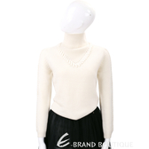 TSE 米白色拼接編織穿繩喀什米爾高領羊毛衣(100%CASHMERE) 1730292-03