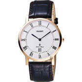 ORIENT 東方 羅馬復刻手錶-白x玫塊金框/38mm FGW0100EW
