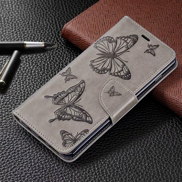 三星 S10 S10+ S10e S9 S9 PLUS 雙蝶壓紋皮套 手機皮套 掀蓋殼 支架 插卡 皮套 可掛繩 保護套