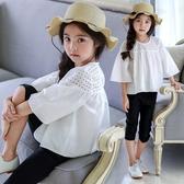 女童半袖T恤鏤空七分袖娃娃衫中大童純棉寬鬆