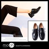 牛津鞋 粗跟 圓頭 歐美亮面綁帶厚底小皮鞋 mo.oh (歐美鞋款)