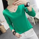 秋冬季女裝新款時尚鑲鑽V領長袖上衣女T恤韓版顯瘦外穿打底衫