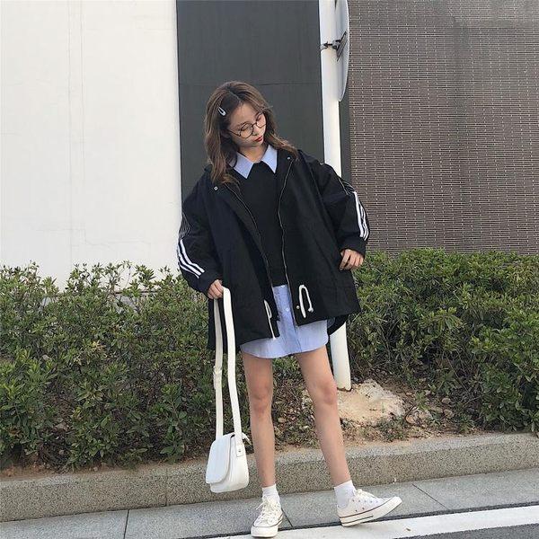 春裝女裝韓版復古工裝BF風寬松休閒風衣學生中長款長袖開衫外套潮