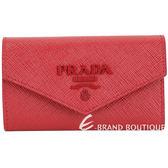 PRADA 浮刻標誌防刮牛皮鑰匙包(紅色) 1920611-54