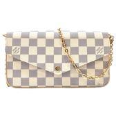 【Louis Vuitton 路易威登】N63106 Pochette Felicie 白棋盤格紋鍊條斜背小提包