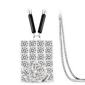 鑲鑽項鍊-璀璨方形生日母親節禮物女毛衣鍊73fv199【時尚巴黎】
