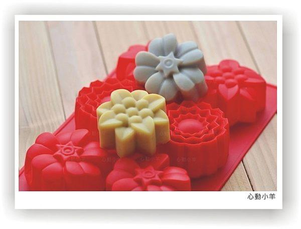 心動小羊^^矽膠3款6連花形皂模手工皂蠟燭可用
