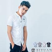短袖襯衫【F50261】OBIYUAN左胸口袋問號印花修身短袖上衣共4色