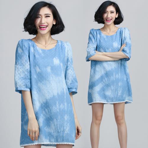 【韓國K.W.】(現貨在台) 春意水洗牛仔鏤空泡泡袖連衣裙