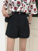 夏季新款韓版高腰顯瘦褲子垂感闊腿短褲黑色休閒工裝褲女學生 雅楓居