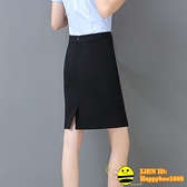 春夏職業裙包裙包臀黑色半身裙一步裙工裝短裙西裙正裝裙西裝裙女【happybee】