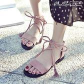 平底涼鞋涼鞋女鞋仙女風學生百搭平底羅馬海邊度假綁帶夏季舒適【四月特賣】