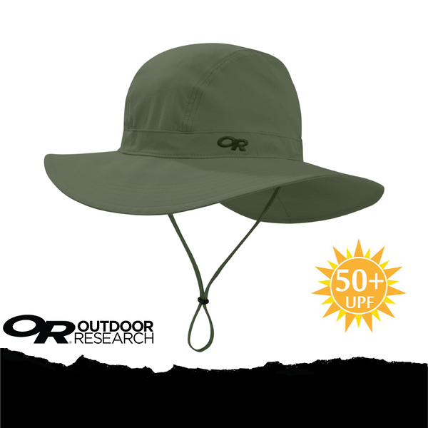【Outdoor Research 美國 OR FERROSI WIDE-BRIM HAT 抗UV透氣快乾大盤帽/L/XL《軍綠》】264398-0740/UPF50+★滿額送
