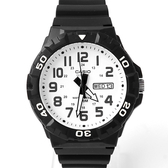 CASIO卡西歐黑白日期窗大膠錶【NEC39】