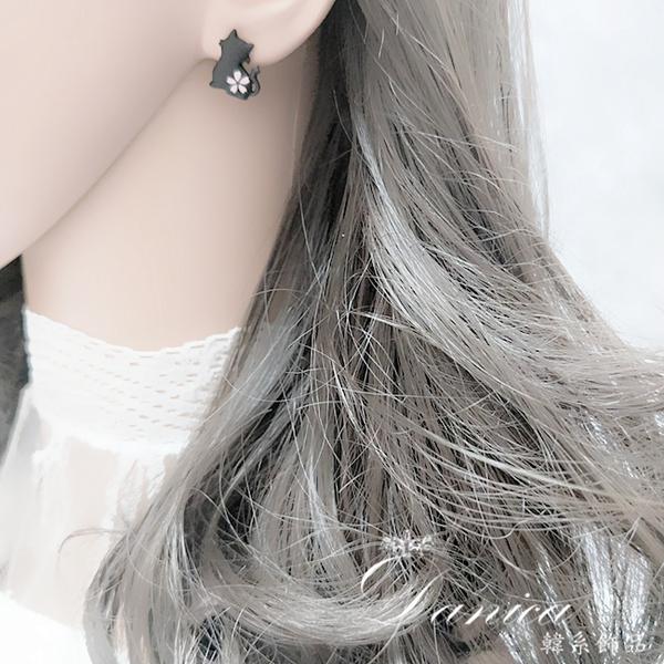 現貨 韓國少女氣質甜美超萌俏皮櫻花貓咪不對稱925銀針耳環 S93699 批發價 Danica 韓系飾品