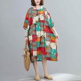 拼布感印花文藝洋裝-大尺碼 獨具衣格 J2794