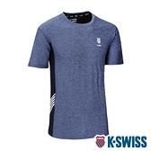 【超取】K-SWISS KS LOGO W/5 Stripe Tee涼感排汗T恤-男-藍