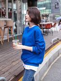 新款寬鬆套頭慵懶風薄款衛衣女秋裝韓版超火長袖假兩件上衣潮   韓小姐