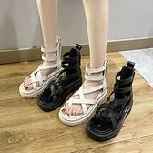 涼靴 夾趾涼鞋女仙女風2021夏季新款松糕厚底高幫鏤空羅馬沙灘夾腳涼靴 韓國時尚 618