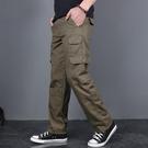 純棉休閒褲男耐磨寬鬆直筒多口袋工裝褲...