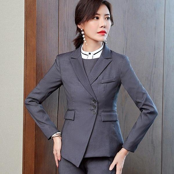 美之札[8S215-PF]襯衫領三粒釦單色OL長袖西裝外套 ~