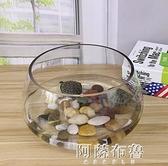 魚缸 創意水族箱生態圓形玻璃金魚缸 大號烏龜缸 迷你小型造景水培花瓶 MKS阿薩布魯