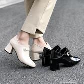 歐洲站粗跟小皮鞋女秋季新款韓版兩穿高跟鞋復古英倫風單鞋子 萬聖節全館免運