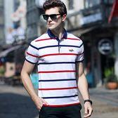 夏熱季色織條紋短袖加大碼保馬標絲光全棉流行男裝POLO衫 KB258【VIKI菈菈】