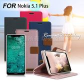 Xmart for Nokia 5.1 Plus 度假浪漫風支架皮套 - 灰 / 桃 / 粉 / 藍