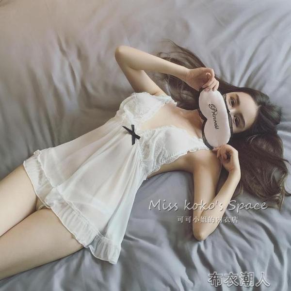情趣睡衣 性感情趣內衣睡衣挑逗誘惑騷透明薄紗吊帶透視短睡裙大碼激情套裝布衣潮人