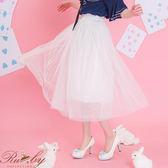 裙子 素色三層紗裙-白-Ruby s露比午茶
