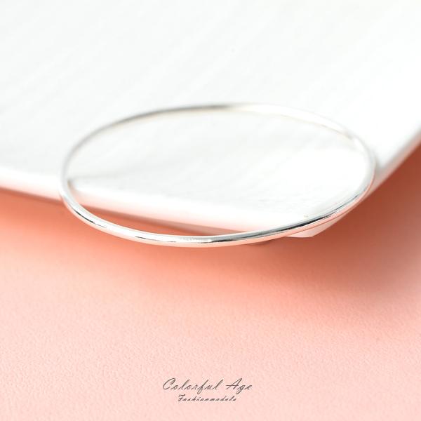 手環 925純銀素面圓形線手環 纖細迷人【NPA69】