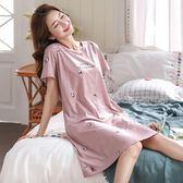 大碼睡裙特加肥加大碼睡衣女士夏季純棉短袖寬鬆韓版睡裙胖mm洋裝 嬡孕哺