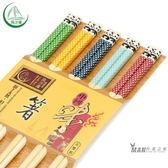 筷子 風沙渡筷子竹子天然套裝家用家庭裝 5雙裝個性成人竹筷子可愛卡通一件免運