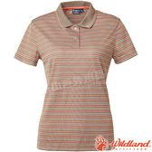 Wildland 荒野 0A61601-98栗褐色 女涼感條紋Yoke上衣 抗紫外線/涼爽散熱/吸濕快乾/條紋POLO衫