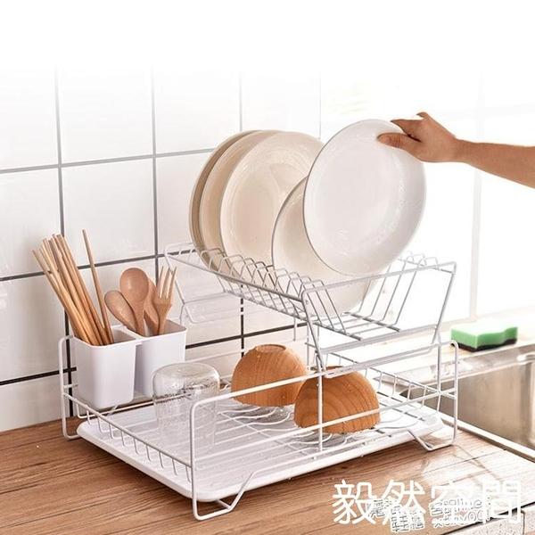 廚房雙層碗碟架瀝水架單層碗筷餐具收納盒放碗碟盤子置物架台面 ATF 快速