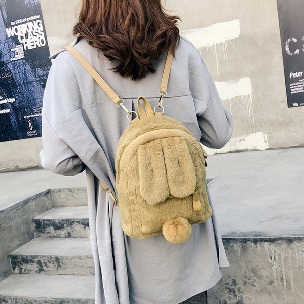 後背包包包女2020新款春季款毛絨兔子後背包可愛小動物古著感少女書包 贝芙莉新品