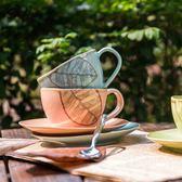 彩色手繪歐式家用陶瓷英式拉花咖啡杯碟套裝牛奶茶杯水杯