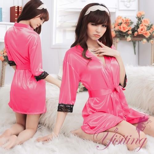 ■■iMake曖昧客■■經典浪漫!柔緞蕾絲和服睡袍﹝玫紅﹞