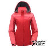 PolarStar 女 防風保暖外套 『紅』 P17218 戶外│休閒│登山│露營│機能衣│可拆式帽子