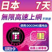 【TPHONE上網專家】日本DOCOMO 7天 無限4G高速上網卡 當地原裝卡 支援當地最高速