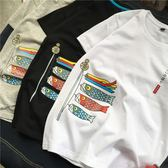 T恤新款韓版日系原宿風短袖t恤男創意夏季圓領寬鬆半袖體恤潮牌衣服 寶媽優品