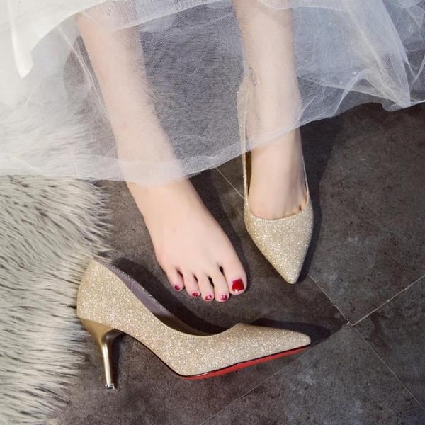 淺色高跟鞋女細跟尖頭白色禮服鞋婚紗照單鞋百搭婚鞋女銀色伴娘鞋 霓裳細軟